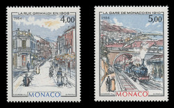 MONACO Scott #1436-7, 1984 Rue Grimaldi & Trains, Paintings by Hubert Clerissi (Set of 2)