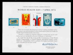 U.N. Souvenir Card #  1 - World Health Day, 1st Printing