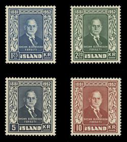 ICELAND Scott #  274-7, 1952 Sveinn Bjornsson, 1st President of Iceland (Set of 4)