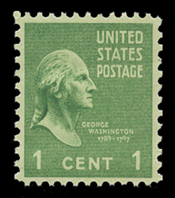 U.S. Scott # 839, 1939 1c George Washington, Perf. 10 Vertically