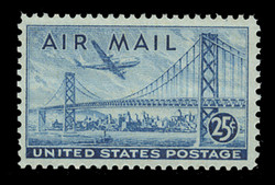 U.S. Scott # C  36a, 1947 25c San-Francisco-Oakland Bay Bridge, blue - Dry Printing