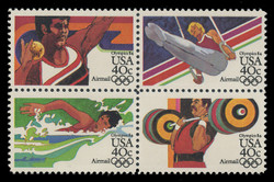 U.S. Scott # C 105a - 8a, 1983 40c Summer Olympics, 1984 Issue (Block of 4) - Perf. 11 Line