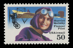 U.S. Scott # C 128b, 1991 50c Harriet Quimby - Perf. 11.2, Mottled Tagged