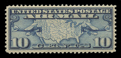 U.S. Scott # C   7, 1926-7 10c Map of U.S. & Planes, dark blue