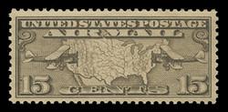 U.S. Scott # C   8, 1926-7 15c Map of U.S. & Planes, olive brown