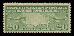U.S. Scott # C   9, 1926-7 20c Map of U.S. & Planes, yellow green