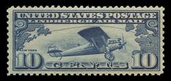 U.S. Scott # C  10, 1927 10c Lindbergh Plane, dark blue