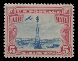 U.S. Scott # C  11, 1928 5c Beacon on Rocky Mountains, carmine & blue