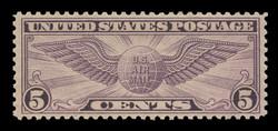 U.S. Scott # C  16, 1931 5c Winged Globe - Rotary Press, carmine & blue