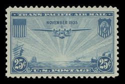 "U.S. Scott # C  20, 1935 25c ""China Clipper"" over Pacific, blue"