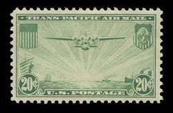 """U.S. Scott # C  21, 1937 25c """"China Clipper"""" over Pacific, green"""