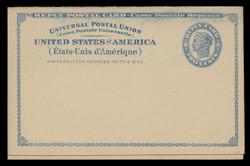 U.S. Scott # UY  2, 1893 2c Liberty Head (Blue) - Mint International Message-Reply Card - FOLDED