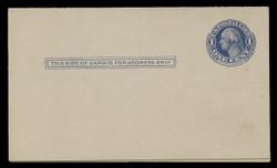 U.S. Scott # UY  5, 1910 1c Washington (Blue) - Mint Message-Reply Card - FOLDED