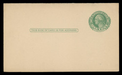 U.S. Scott # UY  7/UPSS #MR14A, 1915-24 1c Washington (Green) Single Frame Line on Cream/Off-White - Mint Message-Reply Card - FOLDED (See Warranty)