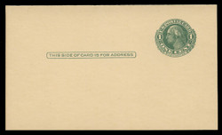 U.S. Scott # UY  7/UPSS #MR14B, 1925-51 1c Washington (Green) Single Frame Line on Various Shades of Buff - Mint Message-Reply Card - FOLDED