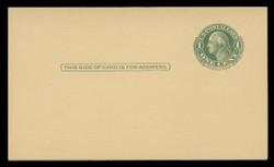 U.S. Scott # UY  7/UPSS #MR14B, CANARY, 1930s 1c Washington (Green) Single Frame Line on Canary- Mint Message-Reply Card - FOLDED