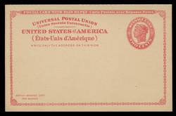 U.S. Scott # UY 11, 1924 2c Liberty Head (Red) - Mint International Message-Reply Card - FOLDED