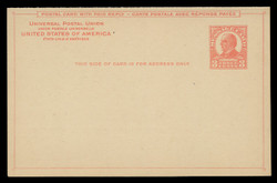 U.S. Scott # UY 12-Pale Red on Cream/Buff, 1926 3c McKinley - Mint Message-Reply Card - FOLDED