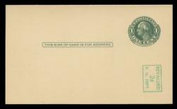 U.S. Scott # UY 14 /UPSS #MR23-1, 1952 2c on 1c Washington (Green) - Mint Message-Reply Card - FOLDED (See Warranty)