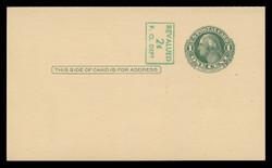 U.S. Scott # UY 14a/UPSS #MR23-2, 1952 2c on 1c Washington (Green) - Mint Message-Reply Card - FOLDED (See Warranty)