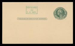 U.S. Scott # UY 14b/UPSS #MR23-3, 1952 2c on 1c Washington (Green) - Mint Message-Reply Card - FOLDED (See Warranty)