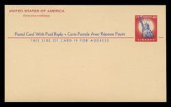U.S. Scott # UY 16, 1956 4c Statue of Liberty - Mint International Message-Reply Card - FOLDED