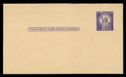 U.S. Scott # UY 17 Type 2, 1958 3c Statue of Liberty - Mint Message-Reply Card - FOLDED (See Warranty)