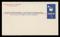 U.S. Scott # UY 19, 1963 7c Map of the United States - Mint International Message-Reply Card - FOLDED