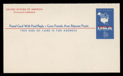 U.S. Scott # UY 20, 1967 8c Map of the United States - Mint International Message-Reply Card - FOLDED