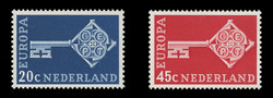 NETHERLANDS Scott # 452-3, 1968 Europa - Golden Key with CEPT Emblem (Set of 2)