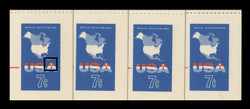 U.S. Scott # UY 19, 1963 7c Map of the United States - Mint International Message-Reply Card - OIL BUBBLE/FOREIGN MATTER ON PLATE