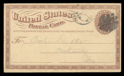 U.S. Scott # UX   1/UPSS # S1 1873 1c Liberty Head, brown on buff with Large Watermark - Used Postal Card