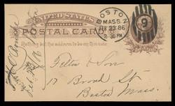 U.S. Scott # UX   8, 1885 1c Thomas Jefferson, brown on buff - Used Postal Card