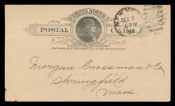U.S. Scott # UX   9, 1886 1c Thomas Jefferson, black on buff - Used Postal Card