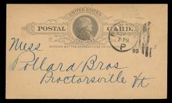 U.S. Scott # UX   9a, 1886 1c Thomas Jefferson, black on dark buff - Used Postal Card