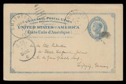 U.S. Scott # UX  13, 1897 2c Liberty Head, blue on buff with border & Large Margin - Used Postal Card
