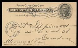 U.S. Scott # UX  14, 1897 1c Thomas Jefferson, black on buff - Used Postal Card