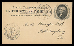 U.S. Scott # UX  15, 1898 1c John Adams, black on buff - Used Postal Card