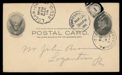 U.S. Scott # UX  18, 1902 1c William McKinley, Side View, black on buff - Used Postal Card