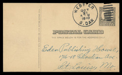 U.S. Scott # UX  20, 1908 1c William McKinley, Square Design, Writing Space on Front, black on buff - Used Postal Card