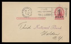 U.S. Scott # UX  35, 1920 1c on 2c Thomas Jefferson (UX30), red on buff, Die 2, PRESS-PRINTED - Used Postal Card (See Warranty)