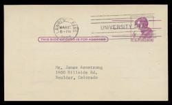 U.S. Scott # UX  48  T1, 1962 4c Abraham Lincoln, Precancelled - Used Postal Card (See Warranty)