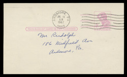 """U.S. Scott # UX  48a/UPSS #S66C, 1966 4c Abraham Lincoln, Precancelled, """"Tagged"""" with Luminescent Ink - Used Postal Card"""