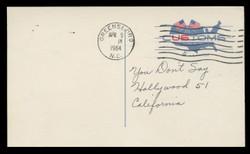 U.S. Scott # UX  50, 1964 4c U.S. Customs Service, 175th Anniversary - Used Postal Card