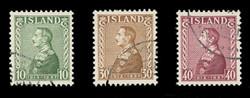 ICELAND Scott #  199-201, 1937 King Christian X, 25th Anniversary, USED (Set of 3)