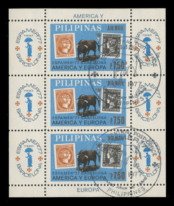 PHILIPPINES Scott # C 110FD, 1977 ESPAMER '77 Souvenir Sheet, Perforated, Cancelled on First Day of Issue