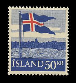 ICELAND Scott #  314, 1958 50kr Icelandic Flag