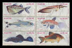 BRAZIL Scott # 2157, 1988 Fresh Water Fish (Block of 6)