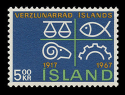 ICELAND Scott #  392, 1967 Icelandic Chamber of Commerce, 50th Anniversary