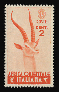 ITALIAN EAST AFRICA Scott #  1, 1938 2c red orange Grant's Gazelle